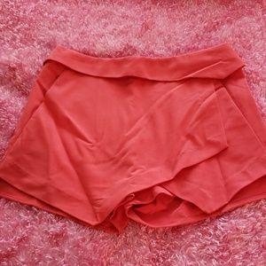Coral rayon blend shorts